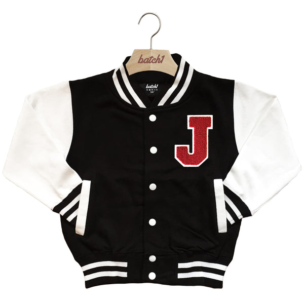 BATCH1 KIDS VARSITY BASEBALL JACKET PERSONALISED WITH GENUINE US COLLEGE LETTER J