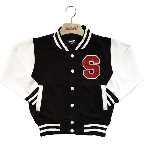 BATCH1 KIDS VARSITY BASEBALL JACKET PERSONALISED WITH GENUINE US COLLEGE LETTER S