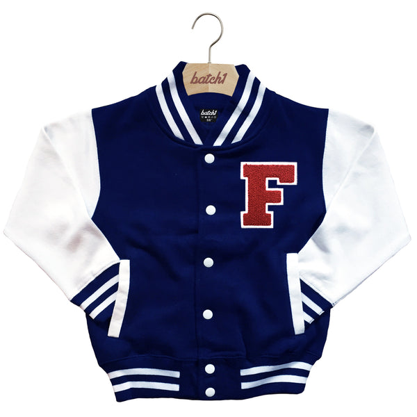 BATCH1 KIDS VARSITY BASEBALL JACKET PERSONALISED WITH GENUINE US COLLEGE LETTER F