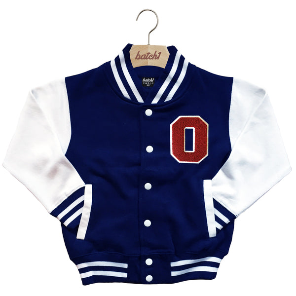 BATCH1 KIDS VARSITY BASEBALL JACKET PERSONALISED WITH GENUINE US COLLEGE LETTER O