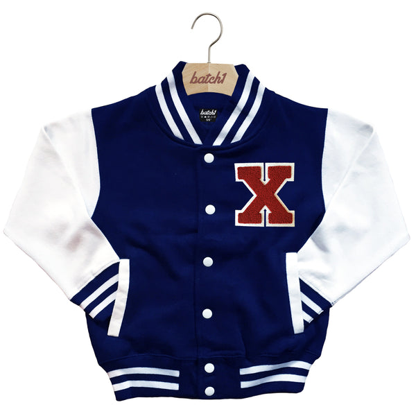 BATCH1 KIDS VARSITY BASEBALL JACKET PERSONALISED WITH GENUINE US COLLEGE LETTER X