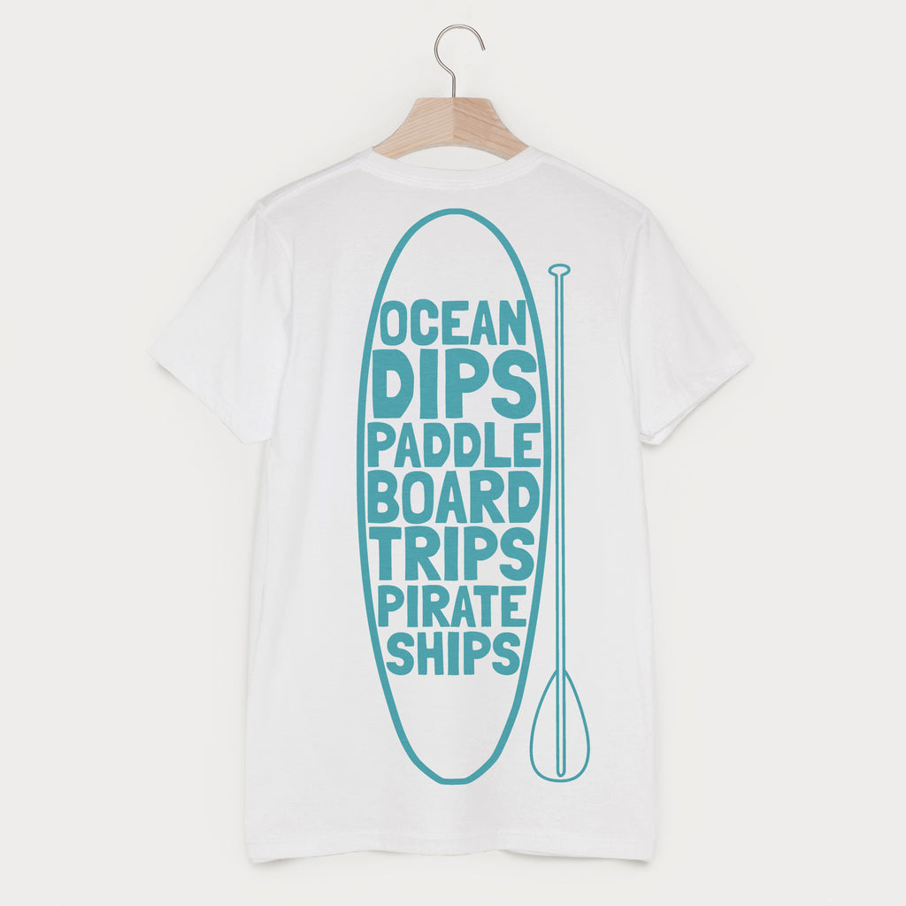Ocean Dips Paddle Board Trips Men's Beach Slogan T Shirt