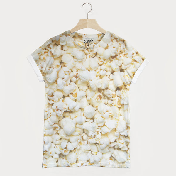 Popcorn All Over Photo Print Unisex Movie Snacks Food Fashion T-Shirt