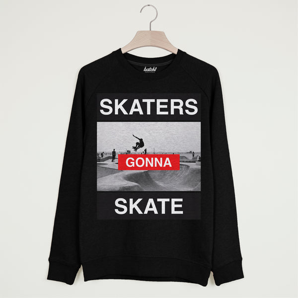 Skaters Gonna Skate Men's 90s Photo Print Skateboarding Slogan Sweatshirt