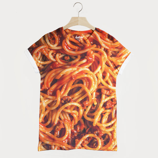 Spaghetti Bolognese All Over Fashion Food Print Novelty Unisex T-Shirt