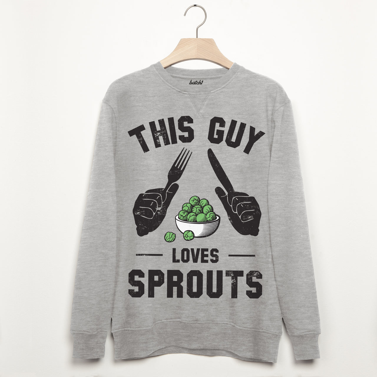 This Guy Loves Sprouts Mens Christmas Sweatshirt