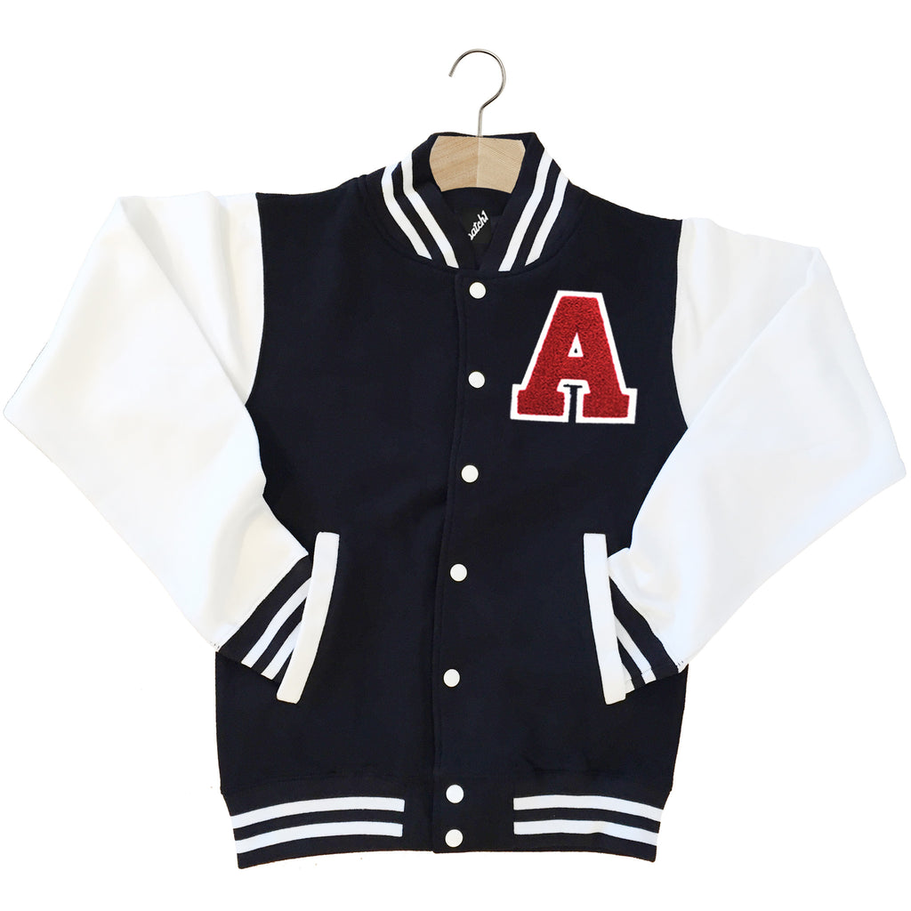 VARSITY BASEBALL JACKET UNISEX PERSONALISED WITH GENUINE US COLLEGE LETTER A