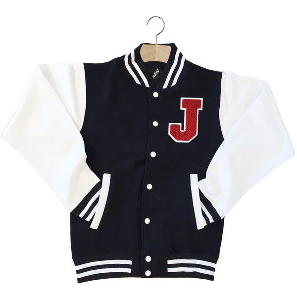 VARSITY BASEBALL JACKET UNISEX PERSONALISED WITH GENUINE US COLLEGE LETTER J