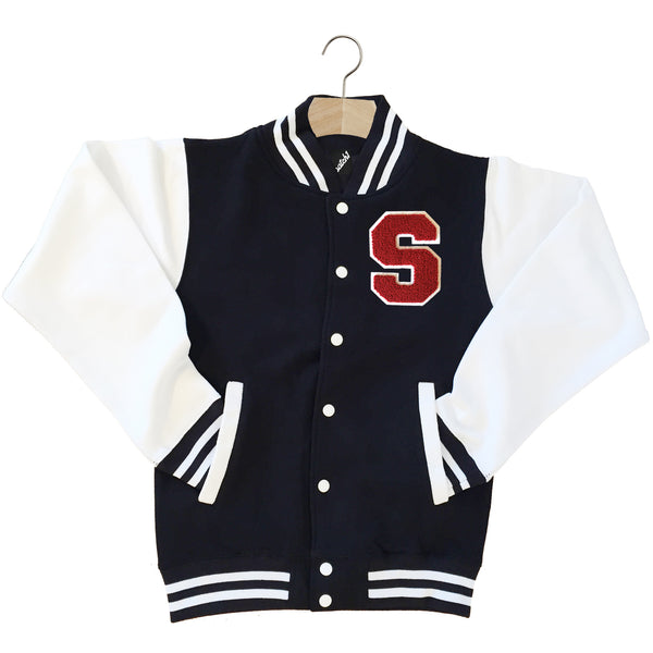 VARSITY BASEBALL JACKET UNISEX PERSONALISED WITH GENUINE US COLLEGE LETTER S