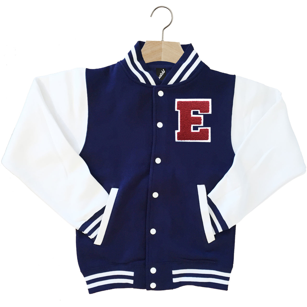 VARSITY BASEBALL JACKET UNISEX PERSONALISED WITH GENUINE US COLLEGE LETTER E
