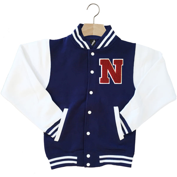 VARSITY BASEBALL JACKET UNISEX PERSONALISED WITH GENUINE US COLLEGE LETTER N