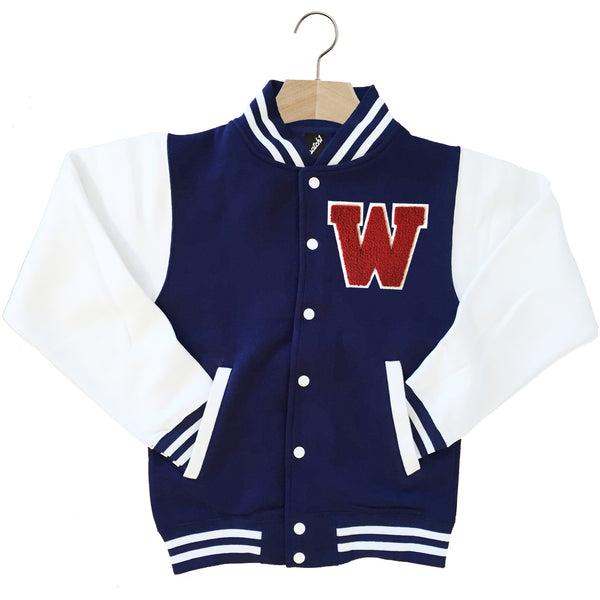 VARSITY BASEBALL JACKET UNISEX PERSONALISED WITH GENUINE US COLLEGE LETTER W