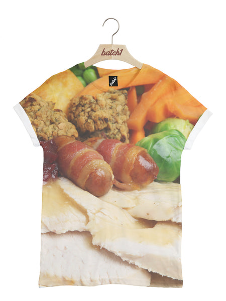 BATCH1 CHRISTMAS DINNER FESTIVE NOVELTY ALL OVER PRINT UNISEX XMAS T-SHIRT
