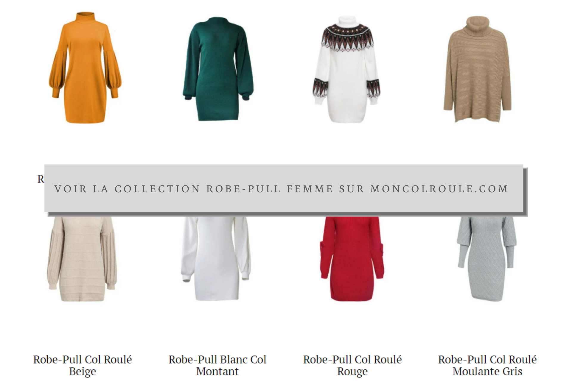 Collection Robe-Pull Col Roulé Femme