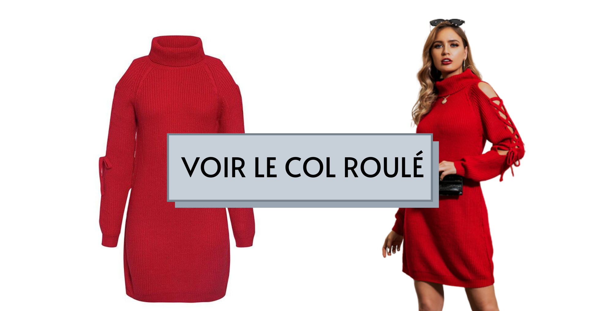 Robe-Pull Col Roulé Rouge