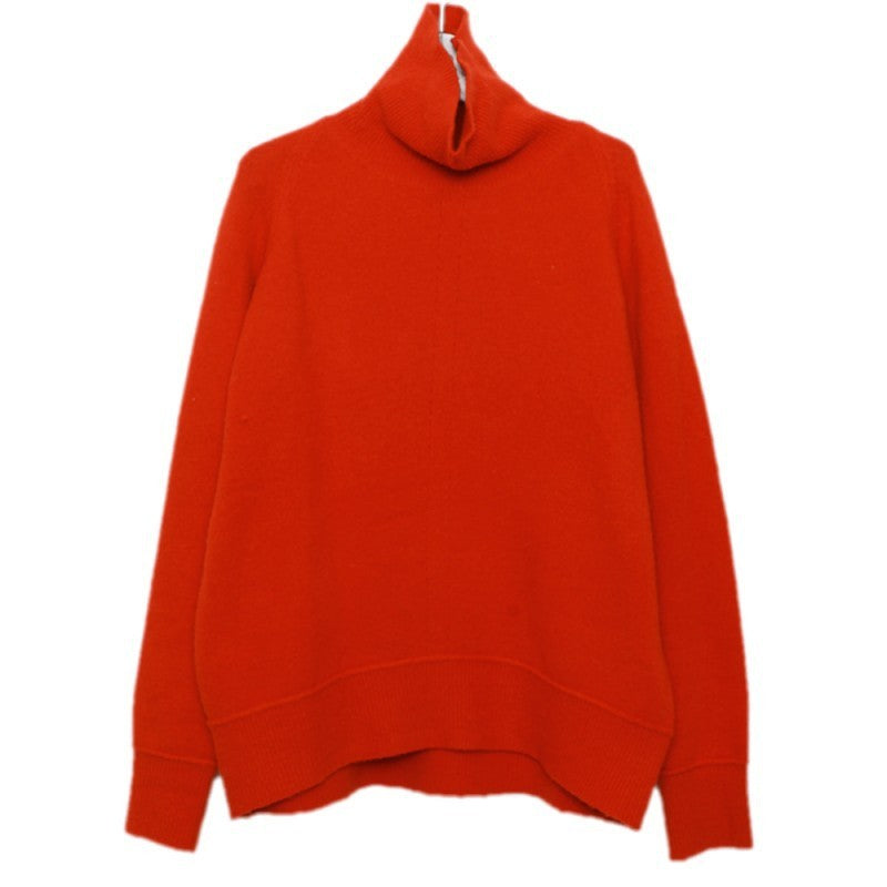 Pull Col Roulé Femme Oversize Rouge
