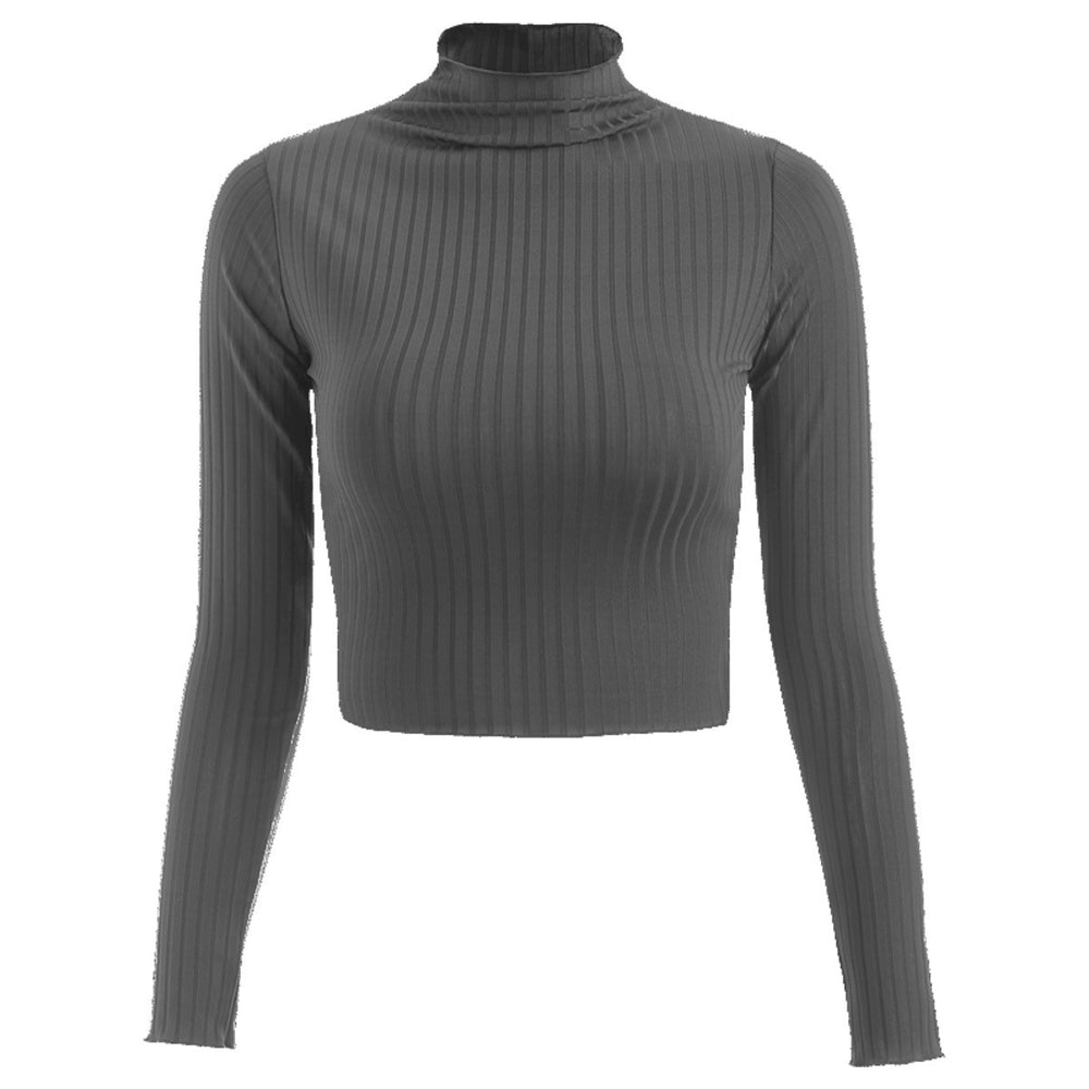 Crop Top Col Montant Gris