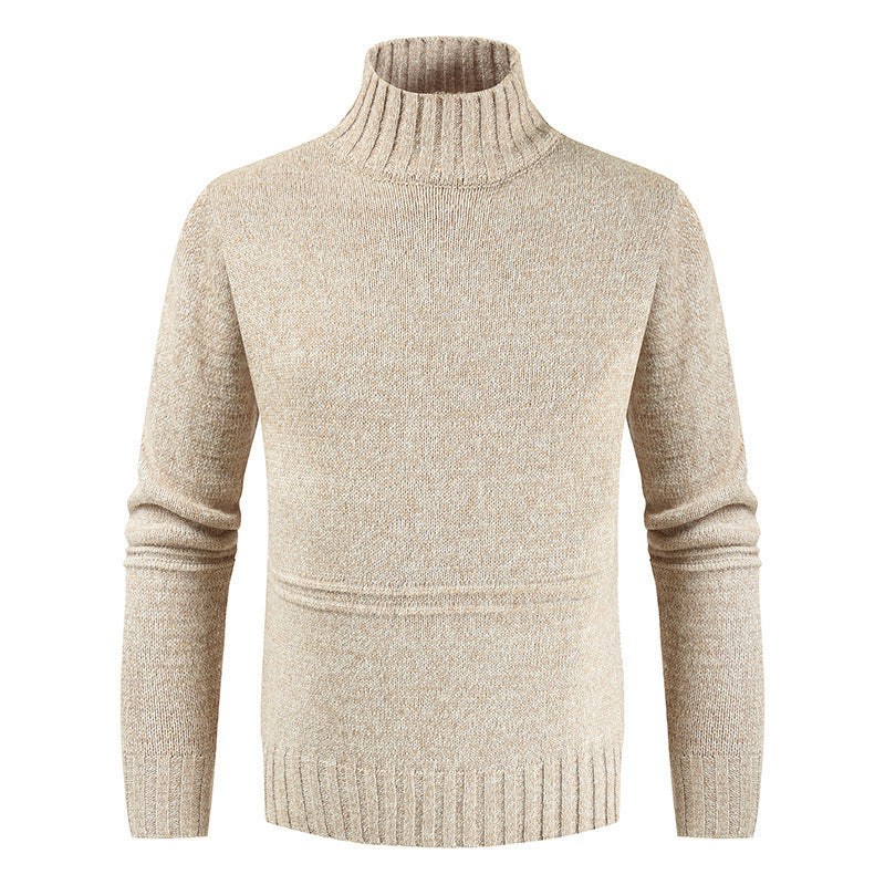Pull Col Montant Homme Beige