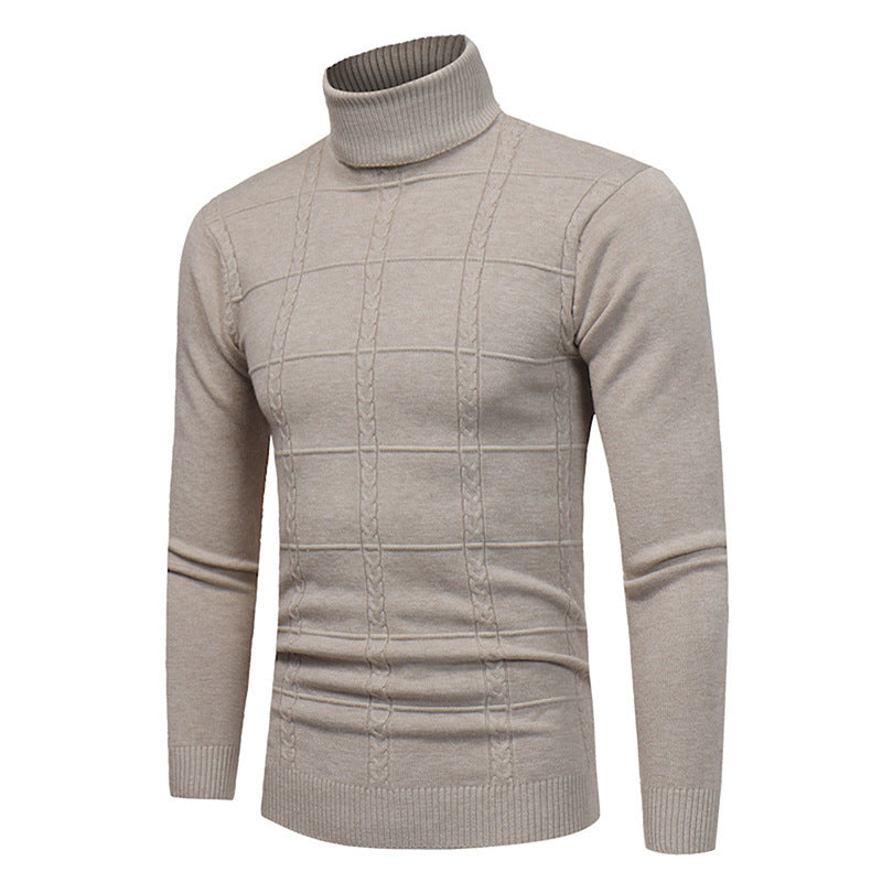 Col Roulé Homme Pull Beige