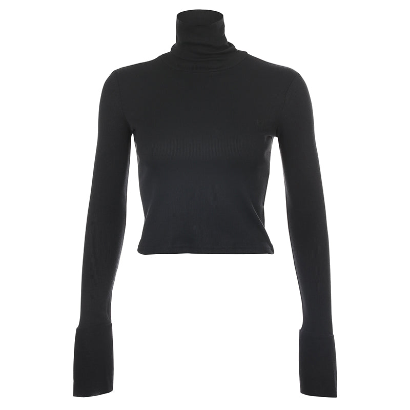Crop Top Col Roulé Noir
