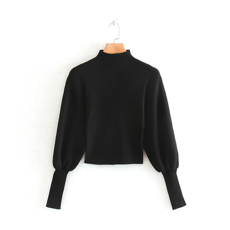 pull col montant noir