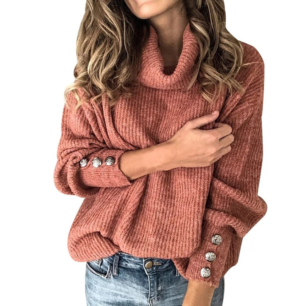 Gros Pull Col Roule Femme Rouge