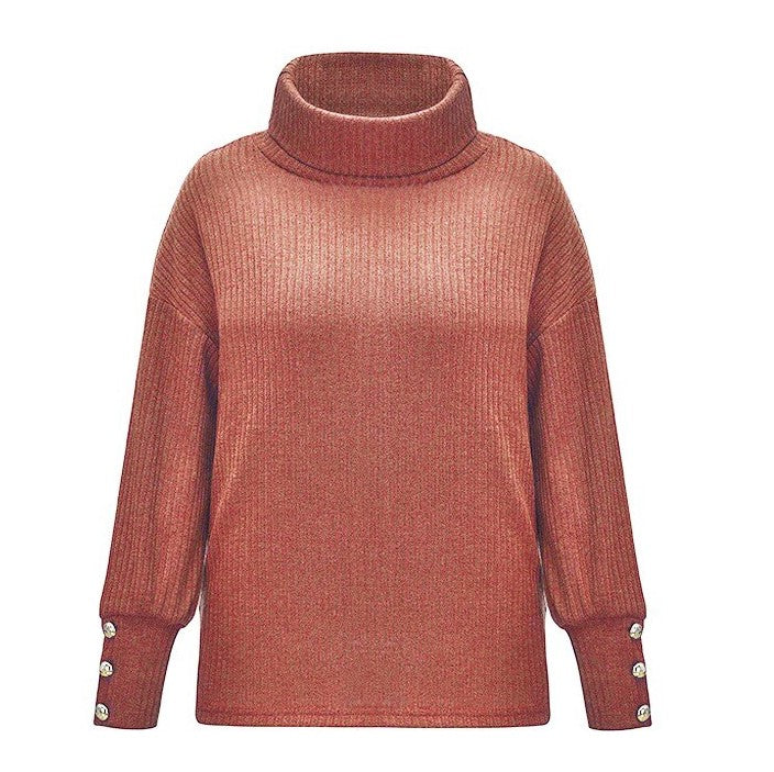 Gros Pull Col Roulé Femme Rouge