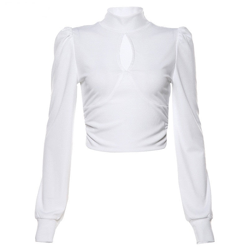 Crop Top Blanc Col Montant