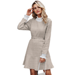 Robe Beige Col Montant Femme