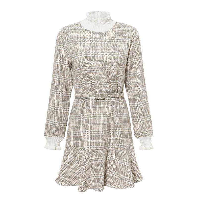 Robe Beige Col Montant