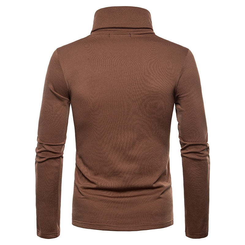 Tee Shirt Manches Longues Col Roule Homme Marron