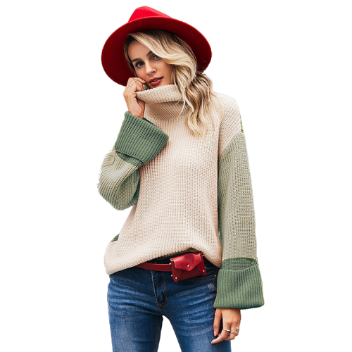 Col Roule Femme Pull Vert Clair