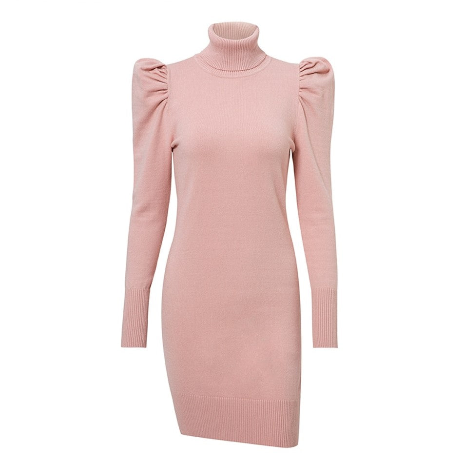 Robe Col Roulé Rose