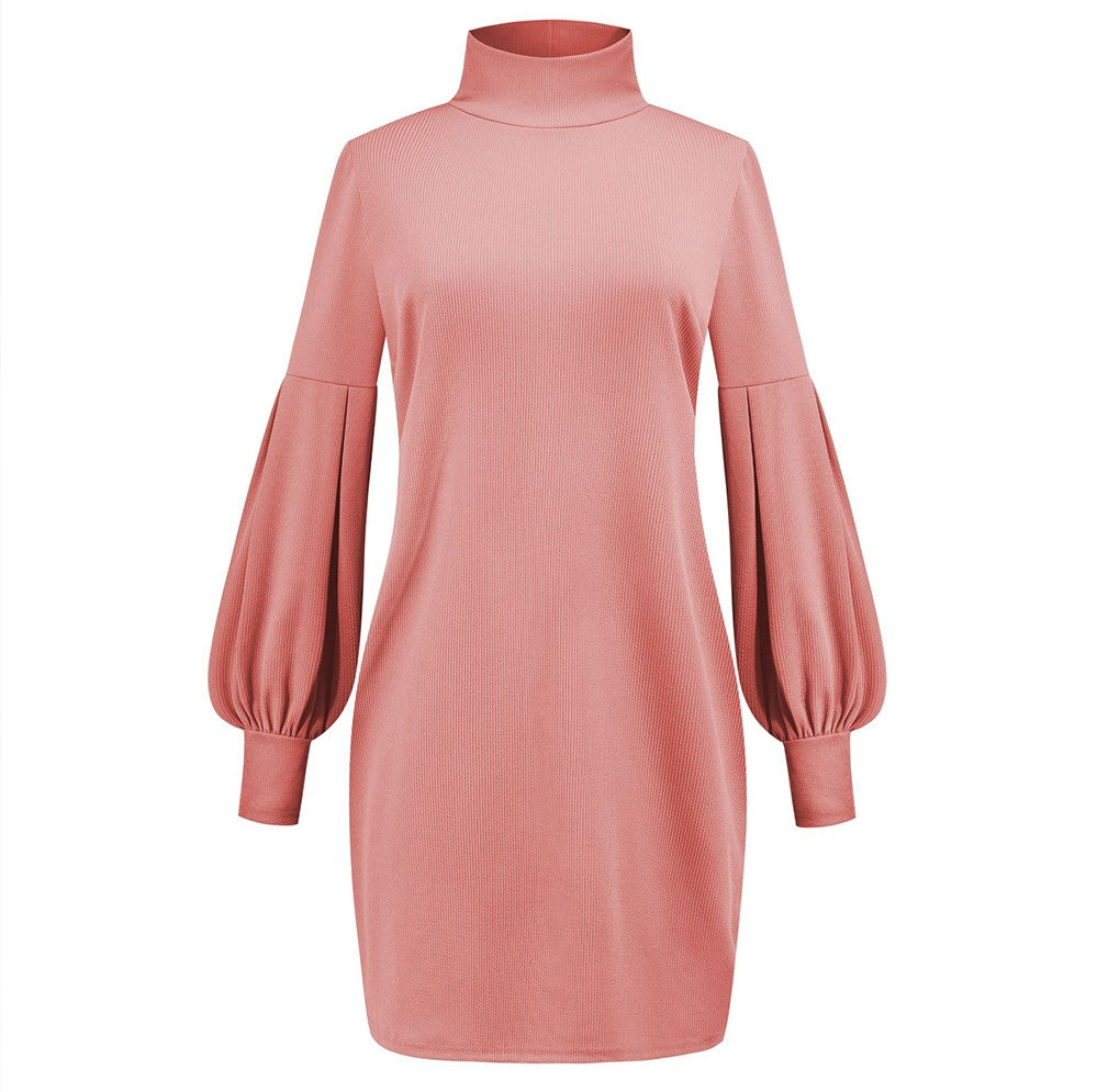 Robe-Pull Col Roulé Rose