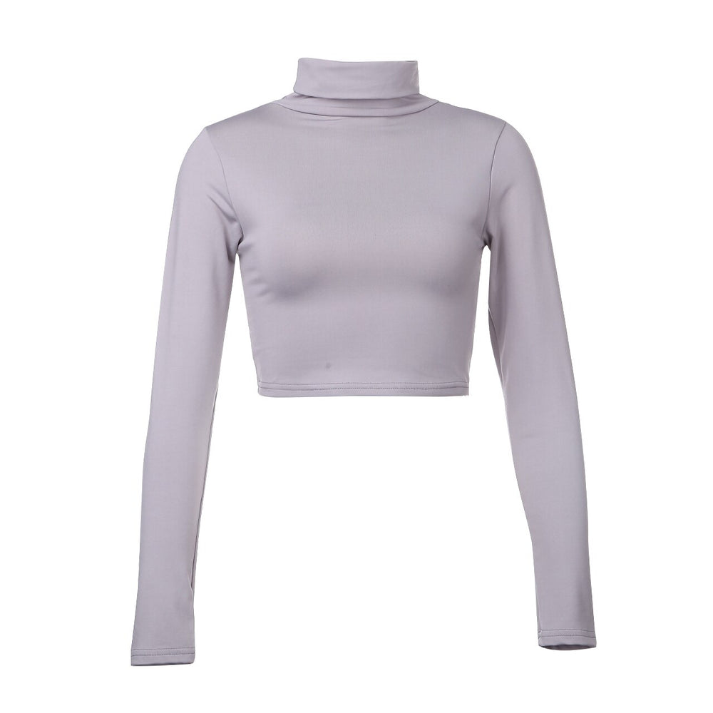 Crop Top Gris Col Roulé