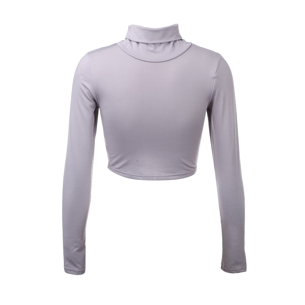 Crop-Top Gris Col Roulé