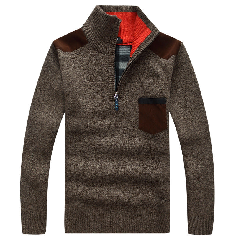 Pull Zip Homme Marron