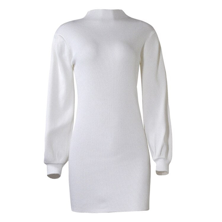 Robe-Pull Blanc Col Montant