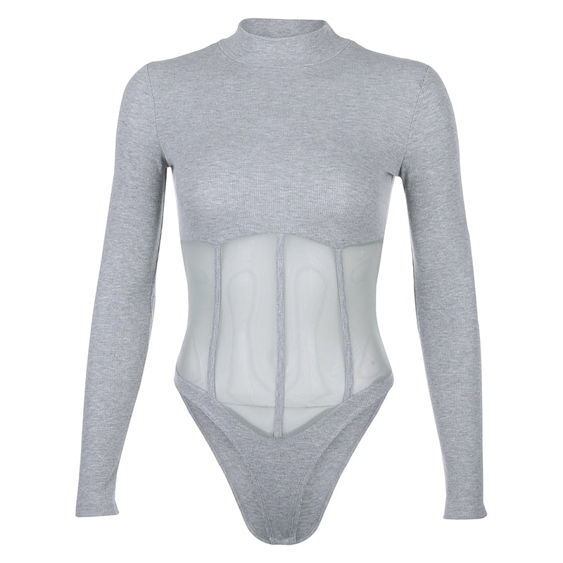 Body Col Montant Femme Gris