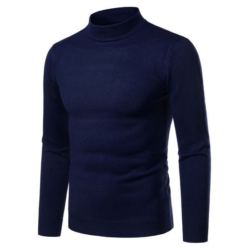 Pull Col Montant Homme Bleu Marine