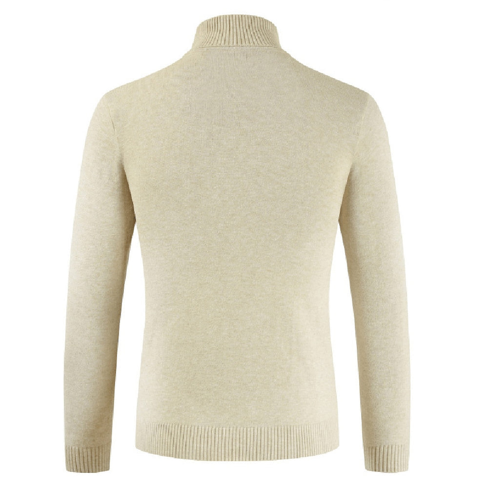 pull beige col roule homme