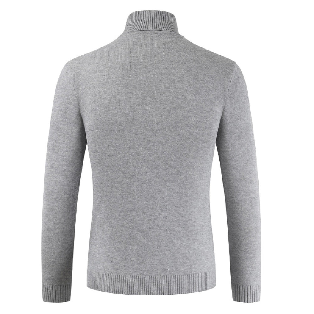 pull gris clair col roule homme