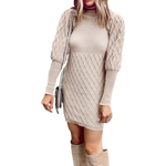 robe pull col roule moulant beige