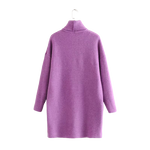 Robe Pull Col Roulé Violet