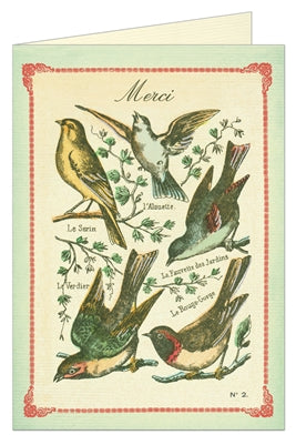 Vintage Bird imagery printed on a thank you card