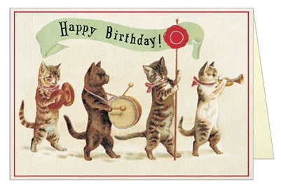 Vintage cats birthday parade greeting card