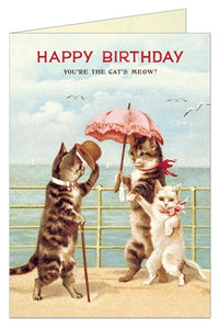 Vintage cats birthday card. Cats meow.