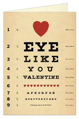 Vintage eye exam valentine card