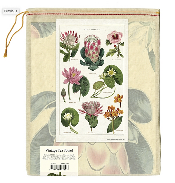 Tropical Flowers Tea Towel - Cavallini