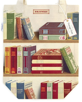 Vintage Bookshelves printed on a cotton tote bag,